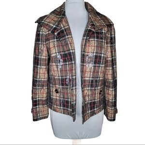 Vintage Andre Oliver Metallic Thread Plaid Blazer